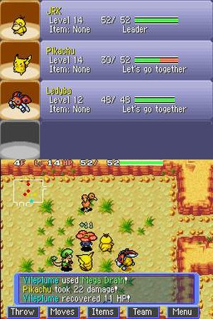 Pokémon Mystery Dungeon: Blue Rescue Team and Red Rescue Team - The protagonist Psyduck and two teammates, Pikachu and Ledyba, engage in combat with an enemy Breloom, Doduo, and Vileplume. The battlefield is overlaid on a grid, with tactical commands and a map also visible on the bottom screen. More detailed team information occupies the top screen.