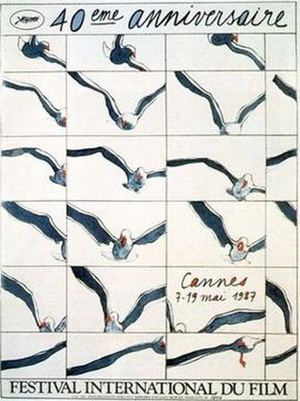 1987 Cannes Film Festival - Official poster of the 40th Cannes Film Festival, featuring an original illustration by Henri Cueco.
