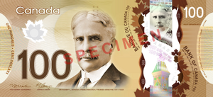 Canadian one hundred-dollar note - Image: Canadian $100 note specimen face