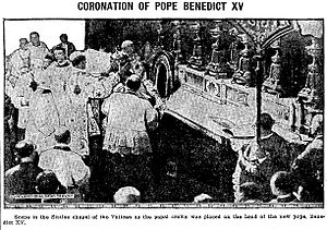 Papal coronation - Photograph showing the moment of the coronation of Pope Benedict XV in the Sistine Chapel, 1914 The Humeston New Era (Iowa newspaper)