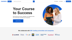 Coursera's homepage in March 2016