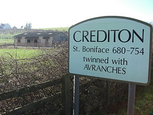 Crediton - Crediton sign on the A3072