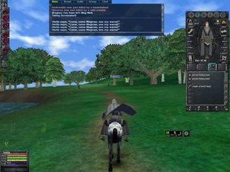 Dark Age of Camelot - The player character riding a horse through the realm of Hibernia. The early 2001-era graphic engine and HUD design can be seen in this shot.