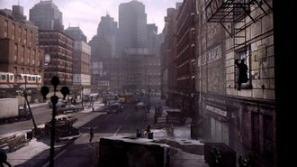 Deadlight - Gameplay in Deadlight. The player is climbing a ladder on the right of the screen. The image shows both the 2.5D graphics, with Wayne himself presented as a silhouette against detailed backgrounds, and the dystopian atmosphere of the game.