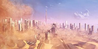 Spec Ops: The Line - A concept art for the game. The Dubai featured in the game is ravaged by sandstorms, creating a post-apocalyptic environment.