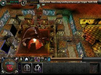 Dungeon Keeper 2 - A typical dungeon containing a dungeon heart, treasury, portal, and some Imps.