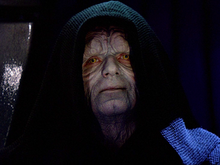 Screenshot of Emperor Palpatine, in his black hood, from Return of the Jedi