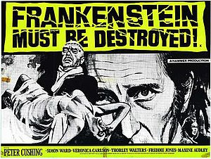 Frankenstein Must Be Destroyed - film poster by Tom Chantrell