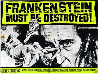 Frankenstein Must Be Destroyed - Theatrical release poster by Tom Chantrell