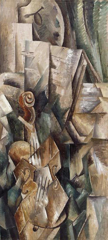 Georges Braque, 1909 (September), Violin and Palette (Violon et palette, Dans l'atelier), oil on canvas, 91.7 x 42.8 cm, Solomon R. Guggenheim Museum