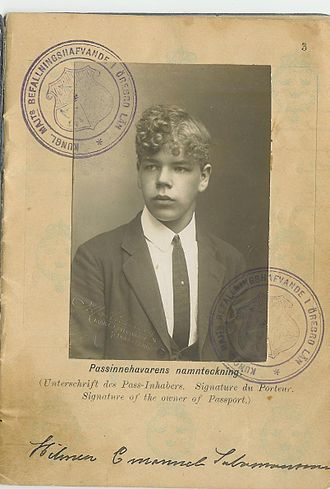 Swedish Americans - The passport of Hilmer Emmanuel Salomonsson, 1921 From Guldsmedshyttan, Sweden to Worcester, Massachusetts
