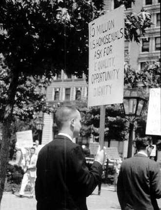 Annual Reminder - Jack Nichols (left) pickets Independence Hall at the first Annual Reminder