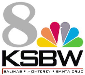 "KSBW - KSBW's logo with NBC branding; used only during NBC and syndicated programming on its main channel, occasionally referred to as ""The Big 8"" (8.1). The updated logo uses a television-shaped box."