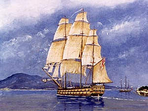 Ocean (1794 ship) - HMS Calcutta, and in the background the supply ship Ocean in Port Phillip in 1803