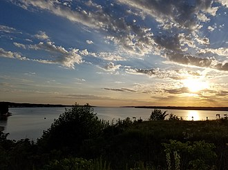 Lewis and Clark Lake - View of Lewis and Clark Lake from Calumet Bluff overlook and hiking trail in Cedar County, Nebraska.