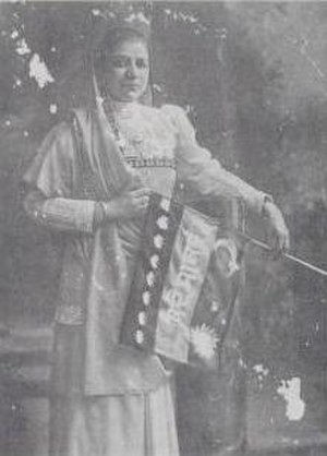 India House - Bhikaji Cama with the Stuttgart flag, 1907. A number of India House members attended the socialist conference that year, and Cama herself worked closely with Krishna Varma.