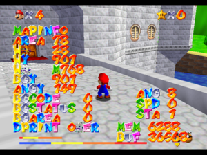 Debug menu - Debugging display in Super Mario 64. This display prints both current memory and CPU usage as well as information about the game state.