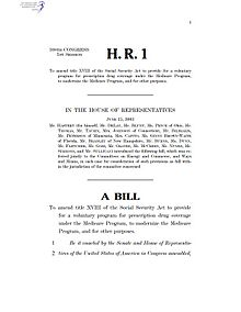 Bill united states congress wikipedia first page of the version of the medicare prescription drug improvement and modernization act as introduced in the house of representatives on june 25 pronofoot35fo Choice Image