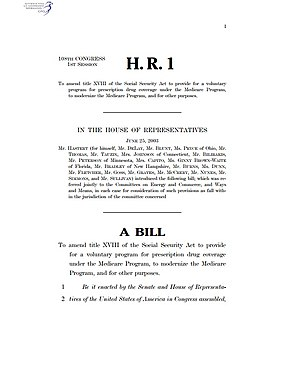 First page of the version of the Medicare Prescription Drug, Improvement, and Modernization Act as introduced in the U.S. House of Representatives, June 25, 2003, as H.R. 1. Medicare Prescription Drug, Improvement, and Modernization Act page 1.jpg