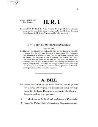 Bill (United States Congress) - First page of the version of the Medicare Prescription Drug, Improvement, and Modernization Act as introduced in the U.S. House of Representatives, June 25, 2003, as H.R. 1.