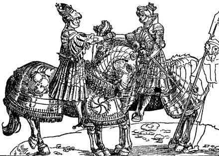 Contemporary woodcut of the meeting of Henry VIII and Maximilian at the siege of Therouanne Meeting of Henry VIII and Maximilian.png