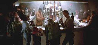 Mos Eisley - Interior set of the Mos Eisley Cantina with cast of aliens, as seen in Star Wars (1977)
