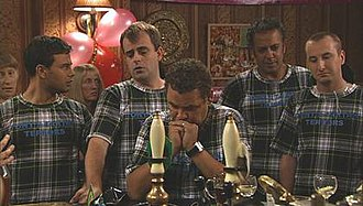 Rovers Return Inn - The Rovers in late 2008, with new wallpaper similar to the original style. Shown are Jason Grimshaw, Steve McDonald, Lloyd Mullaney, Dev Alahan and Kirk Sutherland mourning Liam Connor, killed in a hit and run planned by Tony Gordon.