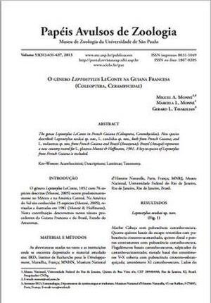 Papéis Avulsos de Zoologia - Image: PAZ 53(31) Cover