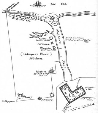 Waitara, New Zealand - Location of the disputed Pekapeka block on the site of modern-day Waitara.