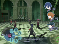 Four of the game's playable characters surround a group of three enemies. The camera is centered behind the Protagonist, who is wielding a sword. A wheel-shaped menu of icons in the lower-left corner of the screen indicate available battle commands.