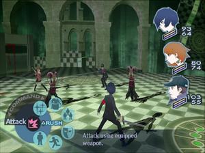 Shin Megami Tensei: Persona 3 - Image: Persona 3 battle screen