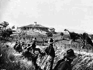 Battle of San Juan Hill - US Army photo showing trench and block house on San Juan Hill about July 4, 1898. Soldiers are from the 10th U.S. Cavalry Regiment.