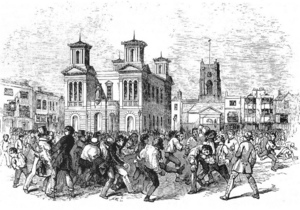 Clattern Bridge - The annual game of Shrove Tuesday football in front of the town hall, as shown in the Illustrated London News in 1846.  The Clattern Bridge was a goal off to the right of the picture.