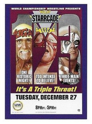 Starrcade (1994) - Promotional poster featuring Hulk Hogan, Vader and Sting