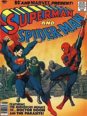 Superman and Spider-Man - Cover of Superman and Spider-Man (1981). Painted art by Bob Larkin from a layout by John Romita, Sr..