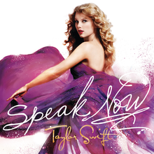 The cover image features Taylor Swift in a flying purple gown. Title of the album appears at bottom in cursive script.