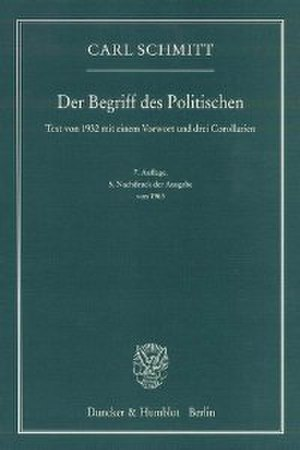 The Concept of the Political - Cover of the German edition