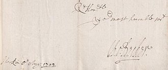 Thomas Beecher - Signature of Thomas Becher 1702