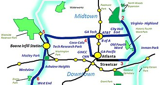 Streetcars in Atlanta - Streetcar routes that would have been funded by 1-cent sales tax, which was voted down in July 2012