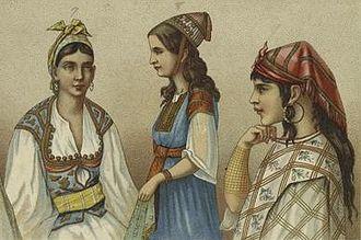 Turks in Algeria - Turkish women of Algeria in their traditional dress (c. 1876 – 1888).