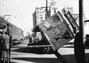1919 Streetcar Strike of Los Angeles - A red car overturned during the 1919 streetcar strike.