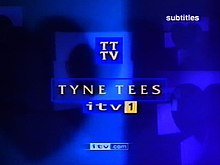 "A small version of the 1970s logo is in the centre of the frame. Beneath are the captions ""Tyne Tees"", ""ITV1"" and ""itv.com"""