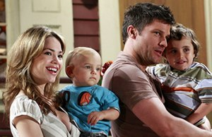 Lucky Spencer and Elizabeth Webber - Lucky and Elizabeth (Vaughan and Herbst, pictured) in 2008, with children Jacob Spencer and Cameron Spencer.