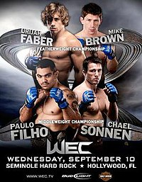 A poster or logo for WEC 36: Faber vs. Brown.