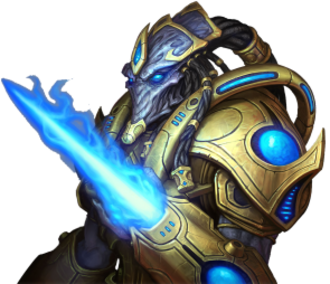 Races of StarCraft - A Protoss Zealot, as displayed in StarCraft II.