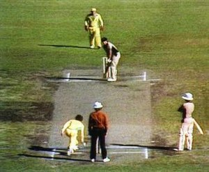 Underarm bowling incident of 1981 - Australia's Trevor Chappell bowls underarm to New Zealand's Brian McKechnie observed by keeper Rod Marsh and non-striker Bruce Edgar