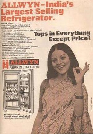 Hyderabad Allwyn - Advertisement for Allwyn Refrigerators (The Hyderabad Allwyn Metal Works Limited)
