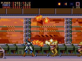 Alien Soldier - Epsilon-Eagle firing at enemies in the first stage