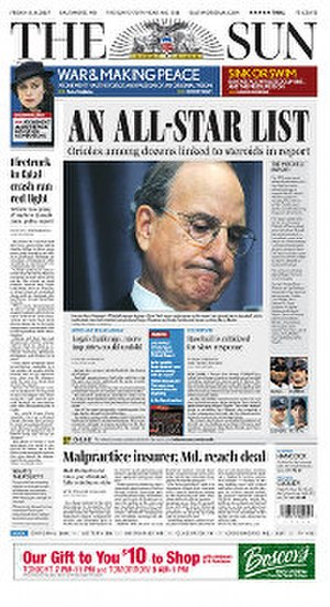 Mitchell Report - The release of the Mitchell Report is reported on the front page of The Baltimore Sun the day after its release