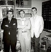 Following a 1962 screening of Don Glut's films at CBS (Hollywood), Glut took this photo of film editor Bob Burns, Jim Harmon, and musician Ron Haydock.